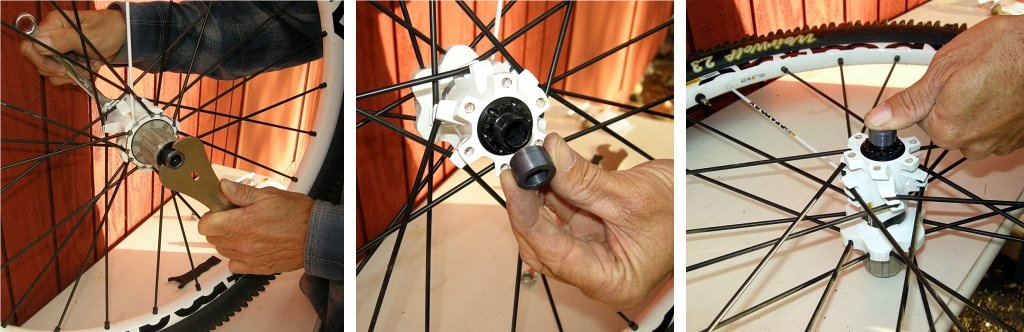 After you have adjusted the hub bearings, slip the 14mm wrench on the left side axle and use the 17mm cone wrench to tighten the drive-side endcap (snug is good, don't overdo it). Slide the let-side endcap onto the axle and then snap it into place with hand pressure.