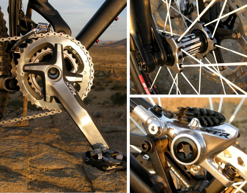 Standout components We were surprised by the rough-trail performance of the Shimano XTR two-by-ten drivetrain. Higher spoke tension of the DT Swiss Tricon wheels seemed to enhance the bike s lateral stability. Shimano ICE brake pads and rotors did the work of larger-diameter rotors. Impressive stoppers.