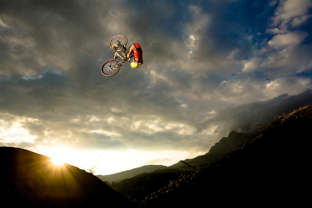 Sam Pilgrim doing a huge frontflip at the 2009 26 Trix dirtjump contest in Leogang Austria. Photo c by www.larsscharlphoto.com me
