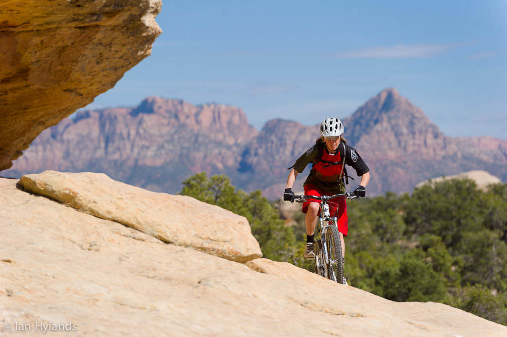 Katrina Strand rides the Gooseberry Mesa trails in Utah.