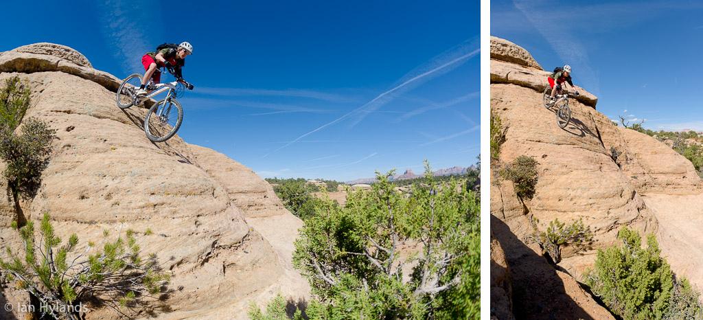 Katrina Strand rides on Gooseberry Mesa in Utah.