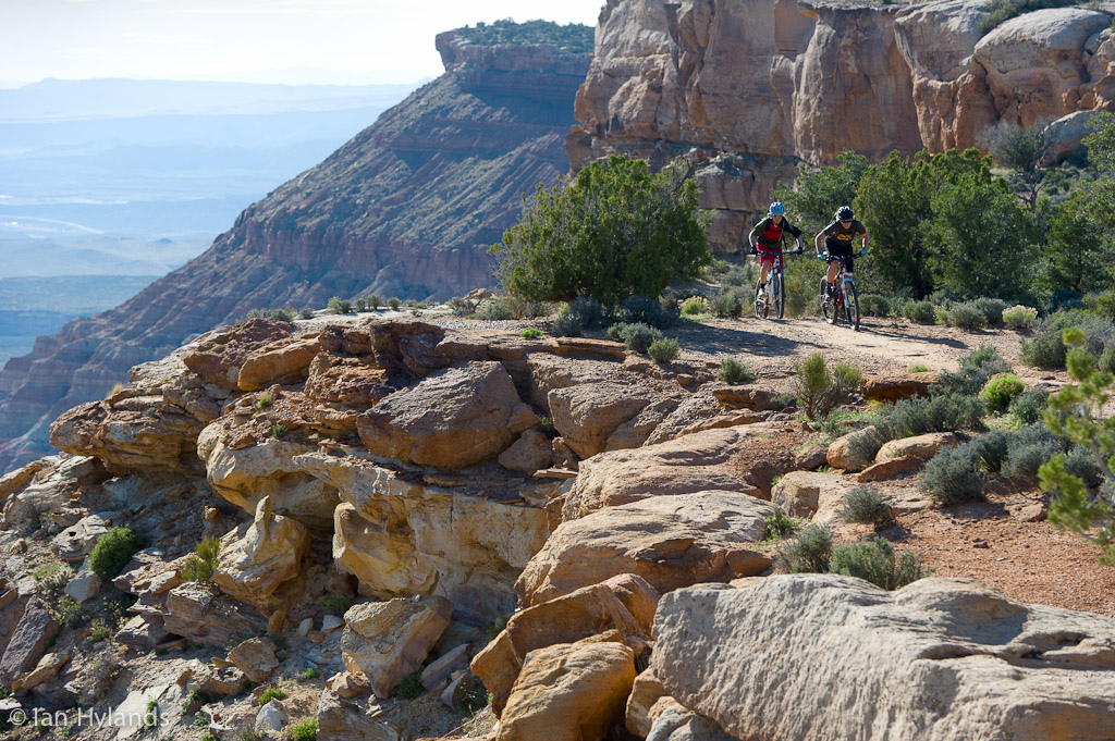 Katrina Strand and Brook Baker riding the Gooseberry Mesa trails in Utah.