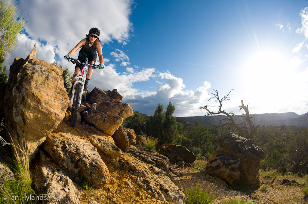 Brook Baker riding on Grafton Mesa in Utah.