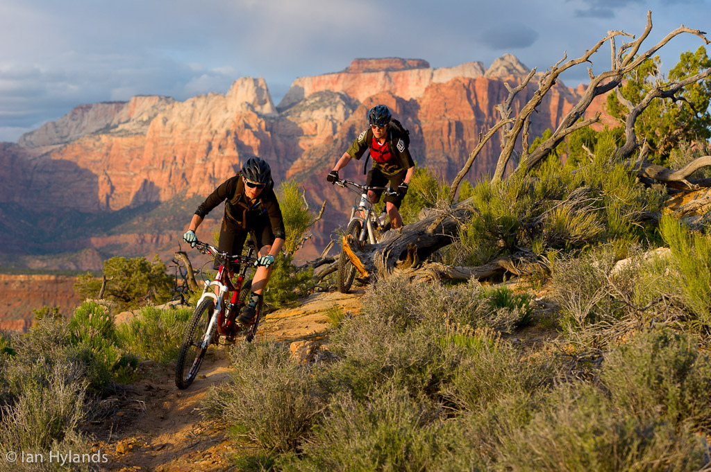 Katrina Strand and Brook Baker riding on Grafton Mesa in Utah.