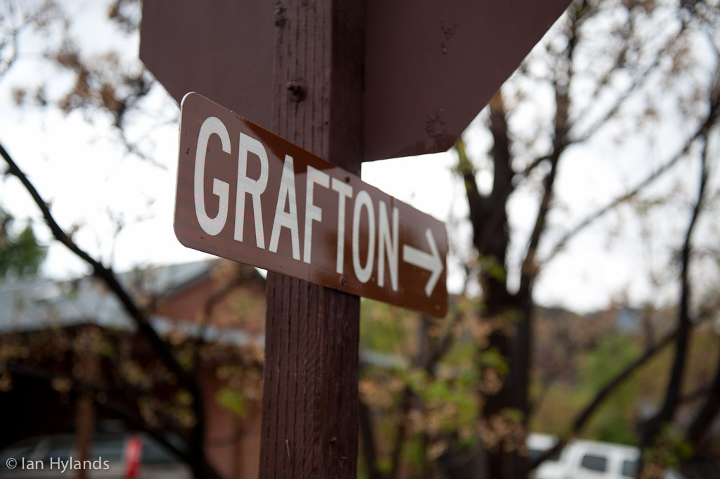 The signpost pointing to the almost forgotten ghost town of Grafton Utah.