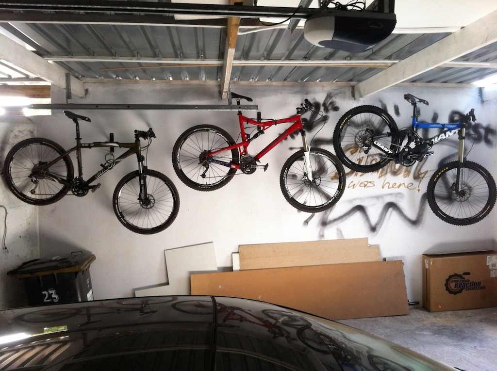 My bikes hanging in my garage.  Really need to tidy up the garage though. haha.