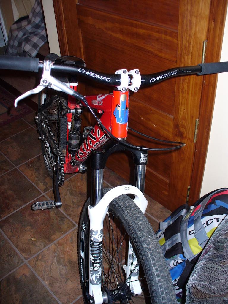 ghettofelt stem, bontrager g1 tires, kmc 710sl chain, and a pivot front wheel....