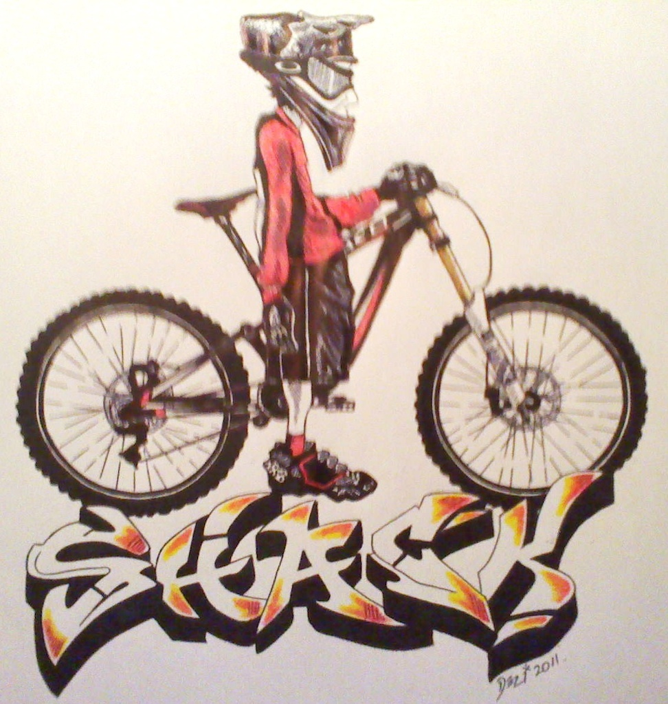 my good buddy Dez is a tattoo artist and he drew me this up of me on my Norco DH rig.  Check him out on PB timelessgrafix