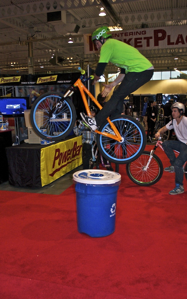 Hop Barspin over trash can in the middle of the bike show