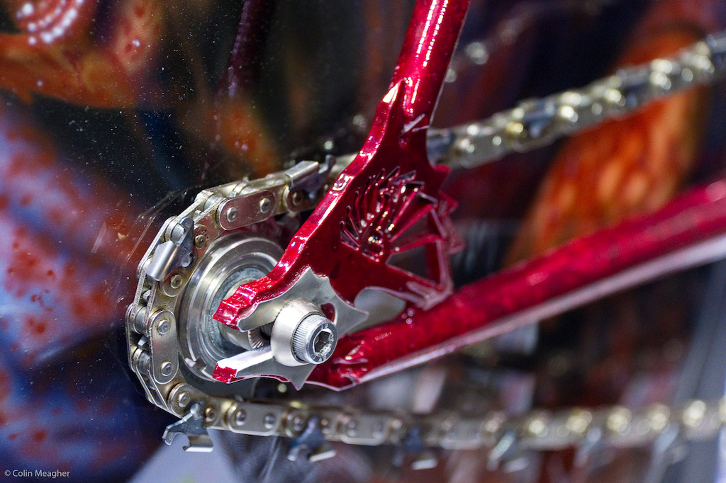 "Details included blood splatters and a ""chainsaw"" chain for a bike chain."