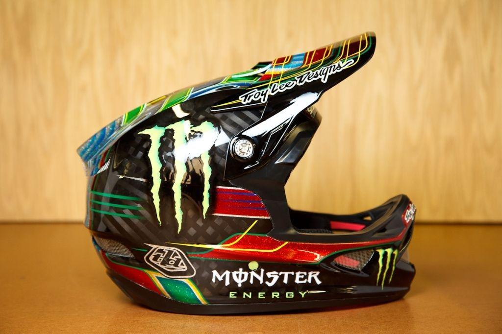 Custom TLD Hill and Fairclough D3 helmets.