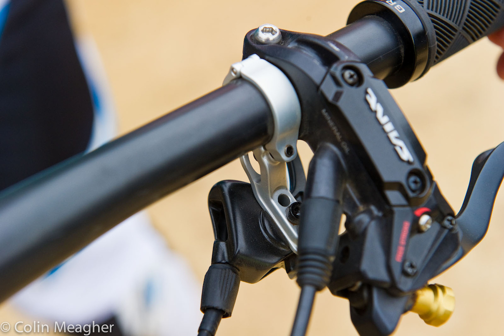 ...and a Fox Racing Shox dropper post. Yeah that s not likely to be on the bike much longer than this race.