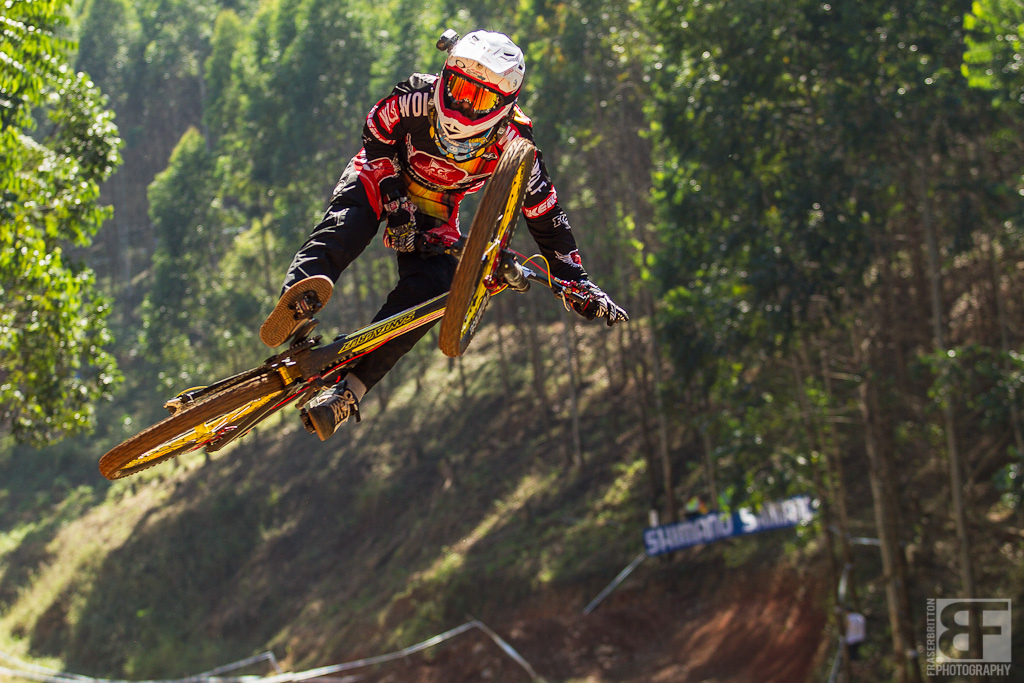Cedric Gracia has fun on his bike at the UCI World Cup in Pietermaritzburg, South Africa
