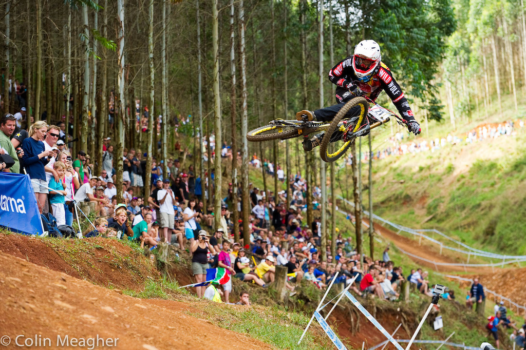 Cedric Gracia throwing down the style at the Pietermaritzburg UCI World Cup DH