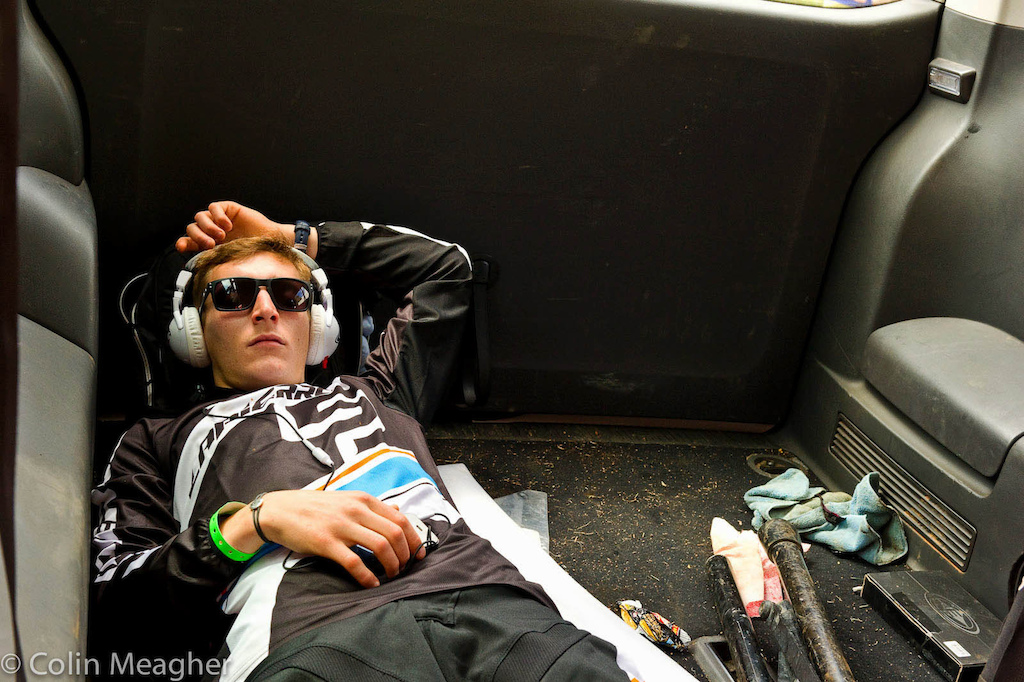 Pre-race chill down takes many forms. Some like Patick Thome of Lapierre International find a quiet spot and chill.