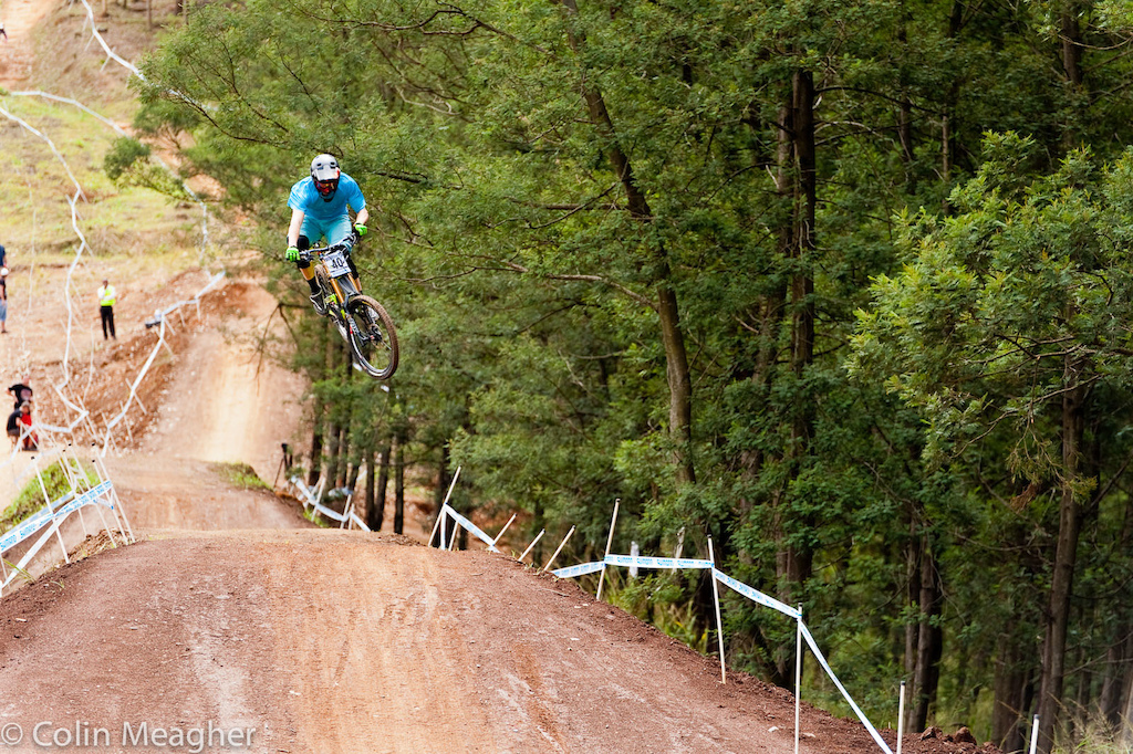 Robin Wallner of Sweden boosting big on the tables at the Pietermaritzburg UCI World Cup DH