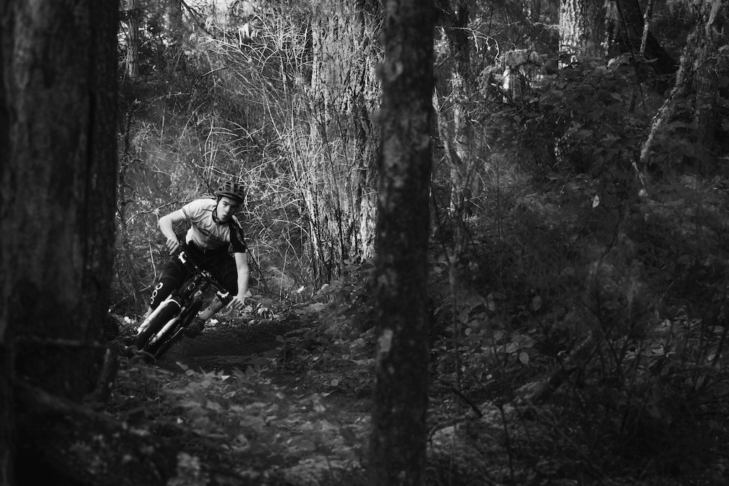 Pelle shreds a tight corner while filming with Scott Secco.