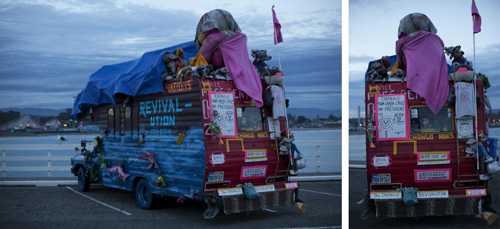 Crazy Party Bus at the Santa Cruz Wharf