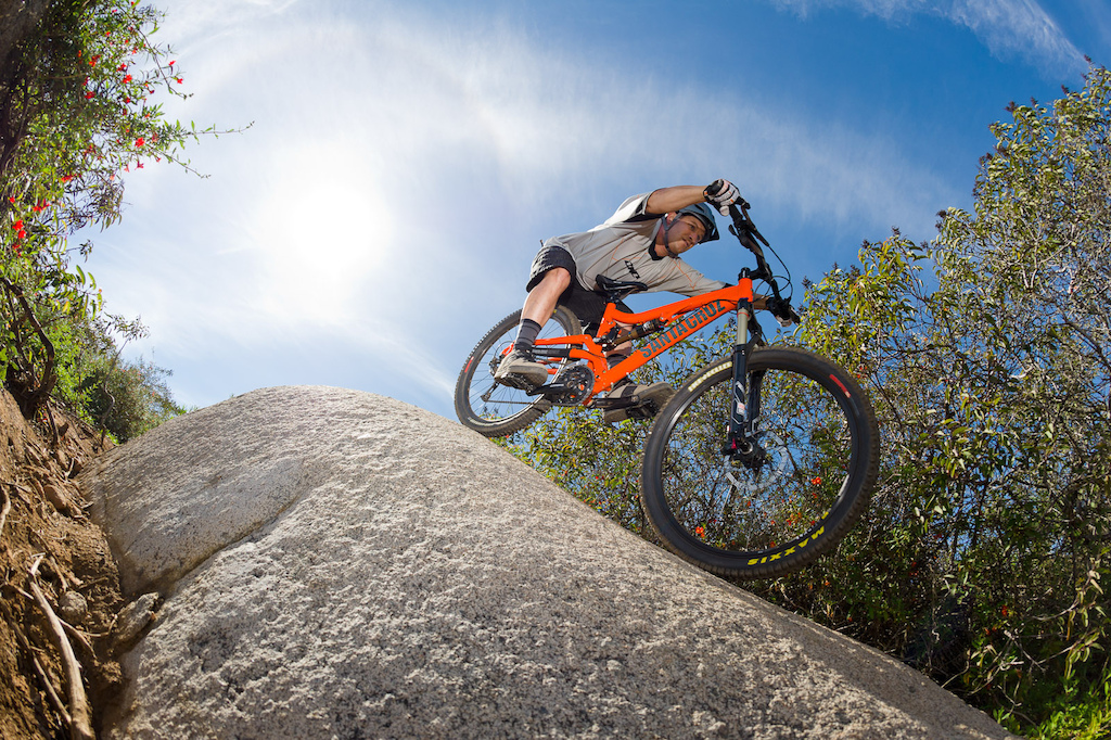 Chris Powell rides a Santa Cruz Butcher during the Pinkbike All Mountain Bike Shoot Out