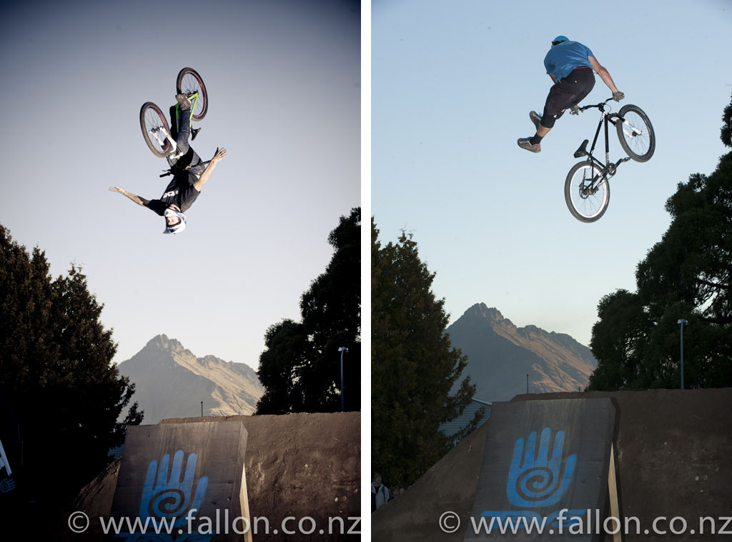 Conor MacFarlane back flip no hander and Reon Boe no foot can in finals at the 2012 Queenstown Bike Festival Teva Slopestyle