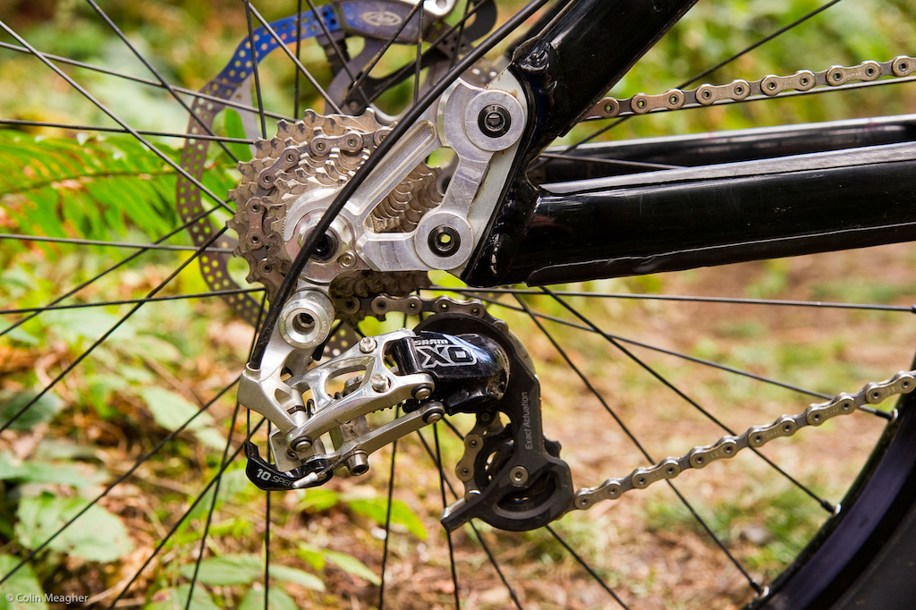 Luke s been riding Shimano for a number of seasons but the switch to Pivot necessitated a switch to SRAM s X0 group that has been fairly seamless . The Phoenix also sports replaceable dropouts that allow for wheelbase adjustments in 10mm increments. This is a stock feature for the Phoenix.