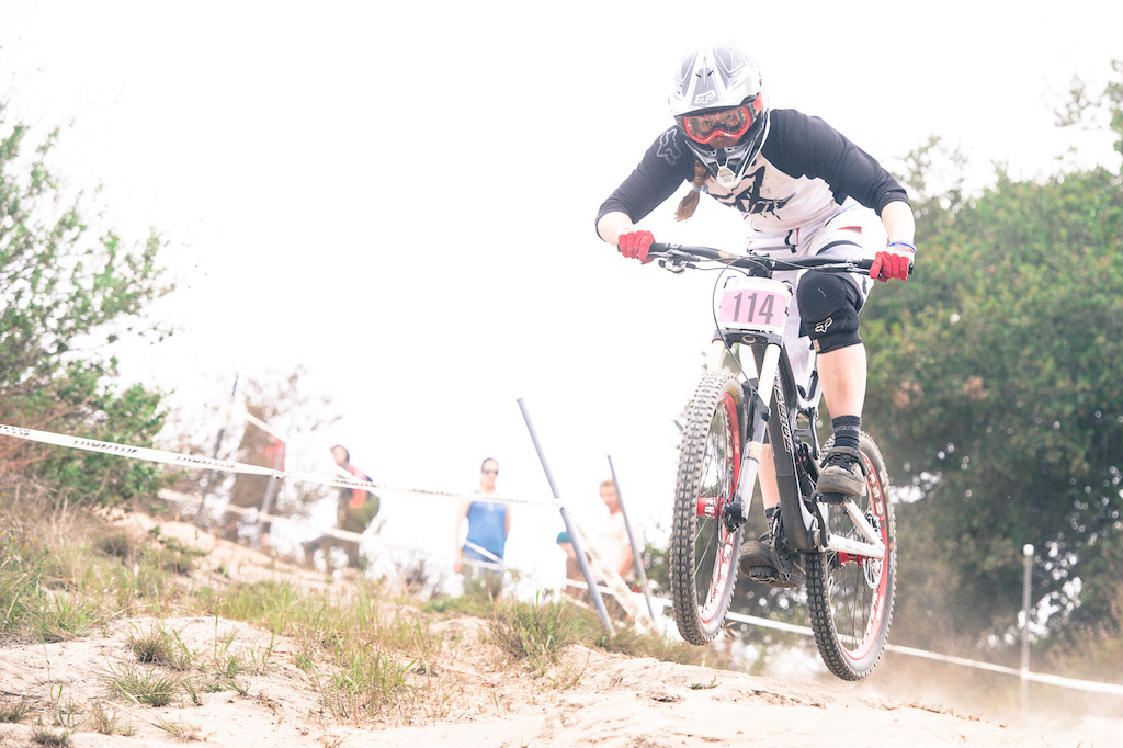 Miranda Miller charging down the Sea Otter DH track and into 4th place.