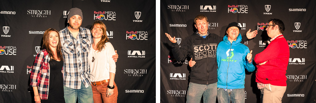 Julian Michelle and Monica from Pinkbike Lars and Adrian from Scott and Todd Seplavy at the Strength in Numbers movie premier in Monterey.