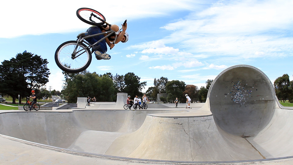 Invert air at New Knox skate park in Melbourne. Still from my last edit https://vimeo.com/40582635