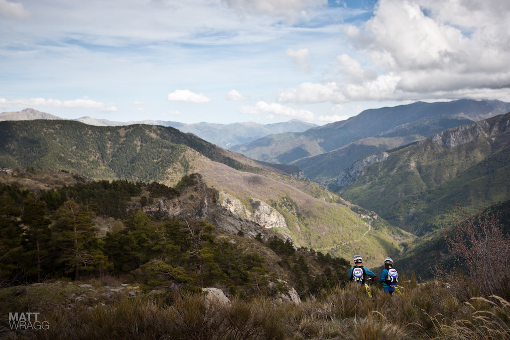 Manuel Ducci and Valentina Macheda looking out over the Argentina Valley.