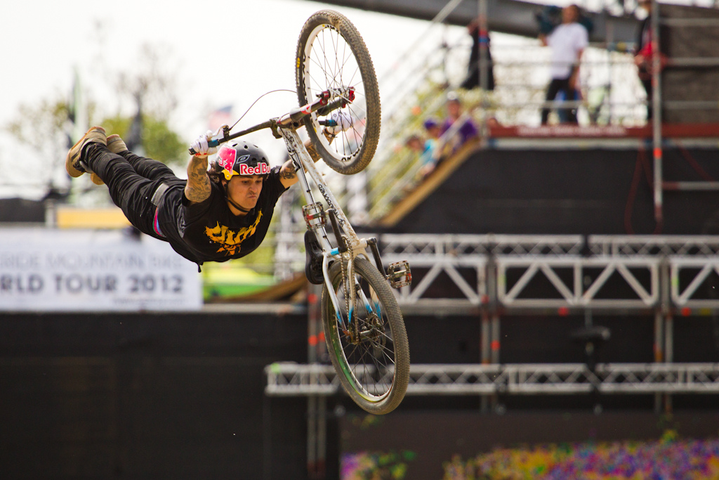 winner of Red Bull Bergline with a Double Flip and a sick run Andreu Lacondeguy show his here signature Superman