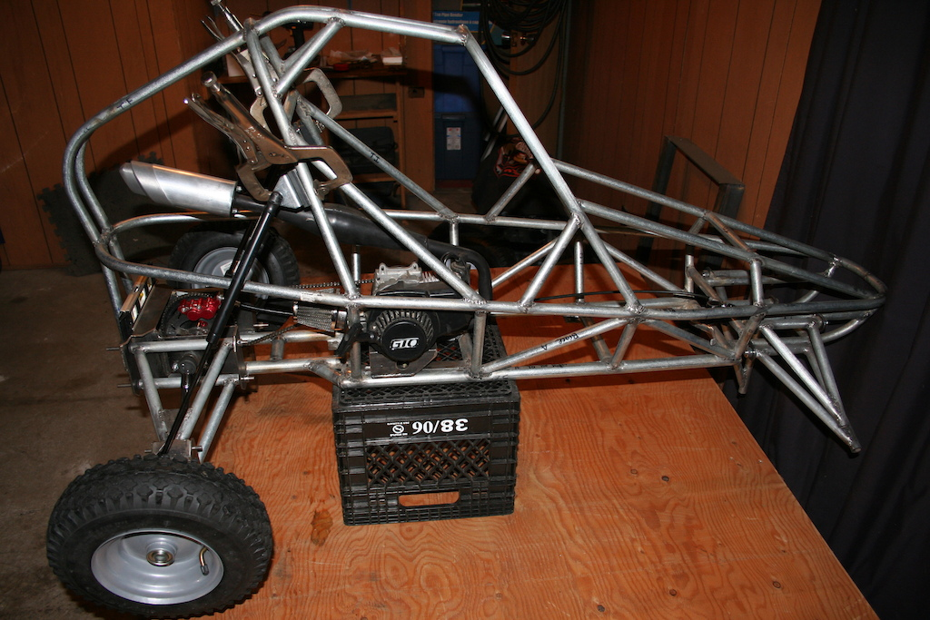 My winter project.  A half scale remote controll dune buggy.  50cc engine.  Now it is summer I am too busy riding my bike to finish this project for now.