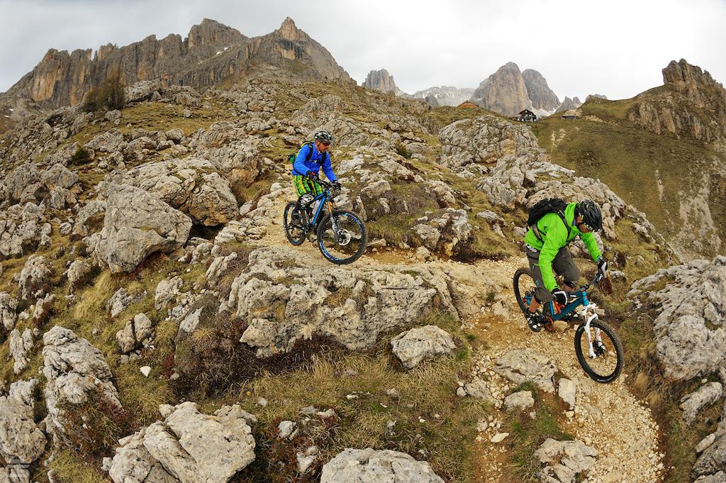 Amazing riding in the Rosengarten, Dolomites.