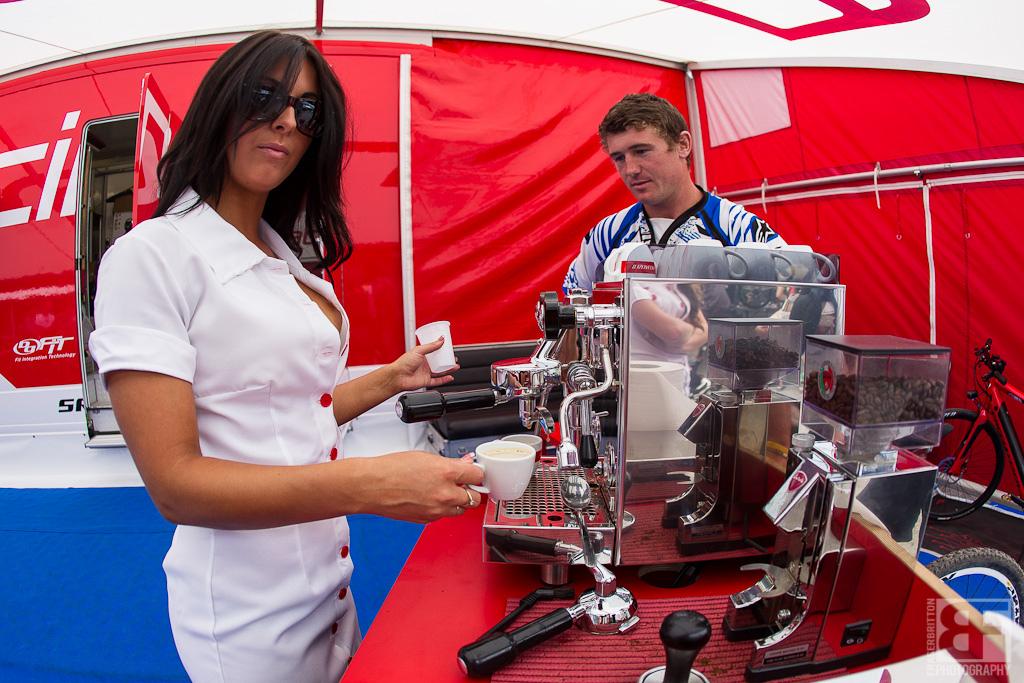 Even Brook Macdonald got in on the nurse fun. he had to teach her to use the espresso machine...