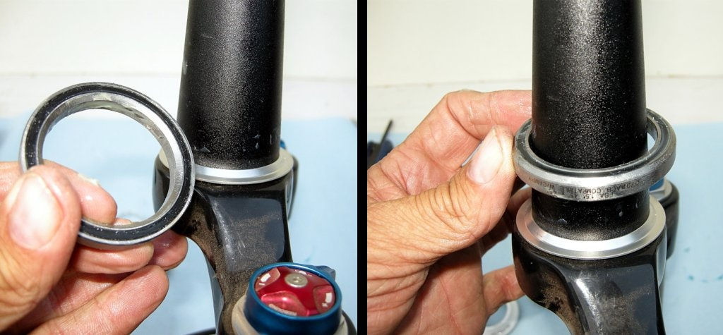 Photo 8 - The inner diameter of the lower race is tapered in one side to mate with the fork's crown race fitting. Make sure that the taper faces down and slide the lower bearing onto the fork's steerer tube.