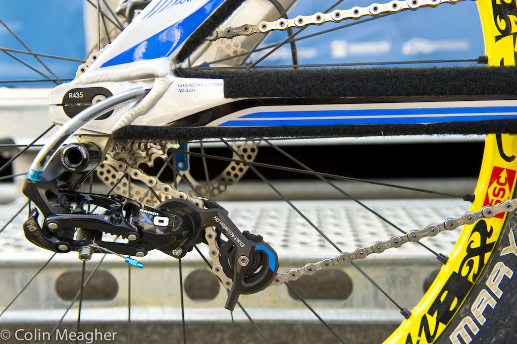 Team MS- Mondraker is running SRAM shifters this year. Andrew Ward, Ragot's mechanic, prefers to add a clear, protective layer to the shifter housing as it exits the chainstay. This is a trick that more than a few riders use on the World Cup level.
