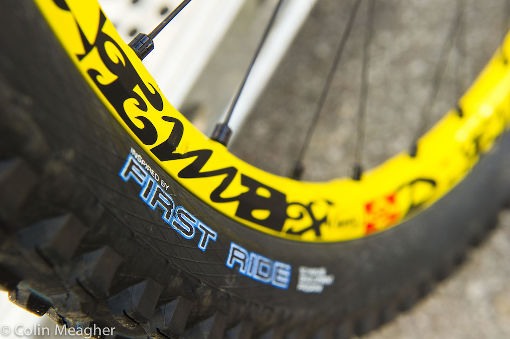 """Schwalbe first ride Muddy Mary tires for Ragot. """"I like the grip they have, and the rubber compound is awesome""""-Emmeline Ragot."""