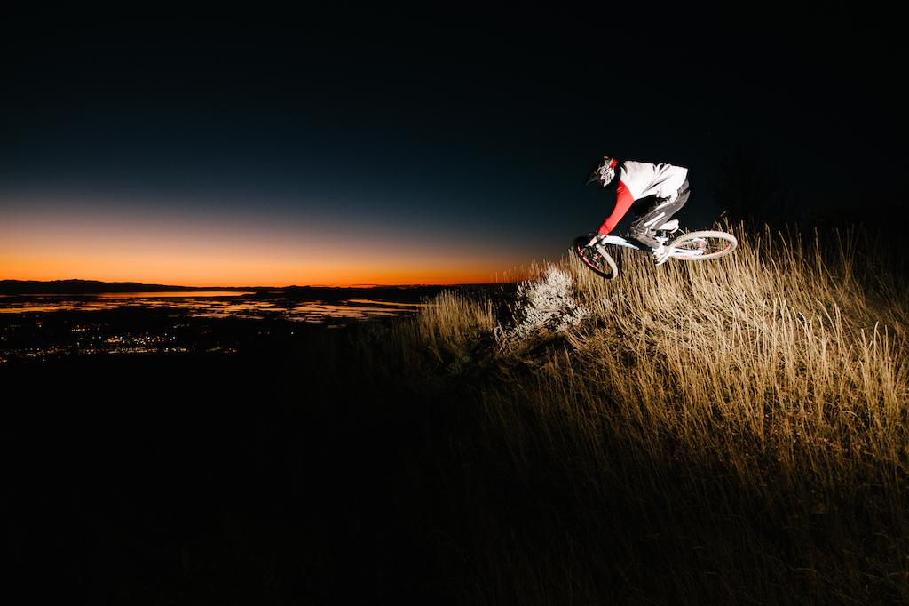 Biking above Bountiful, Utah at Sunset