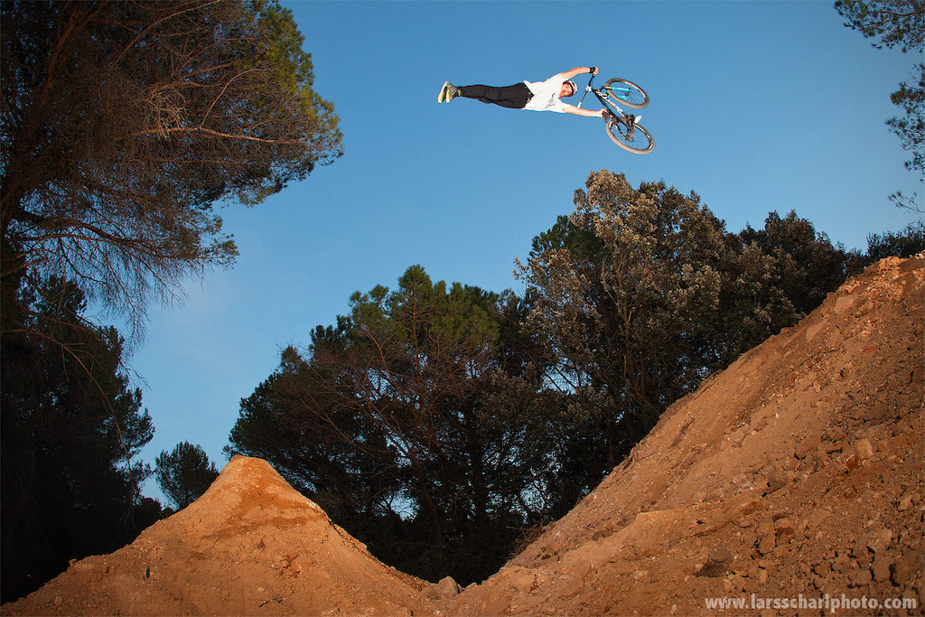Sherwy with a massive duck face super seatgrab at his home trails... good times