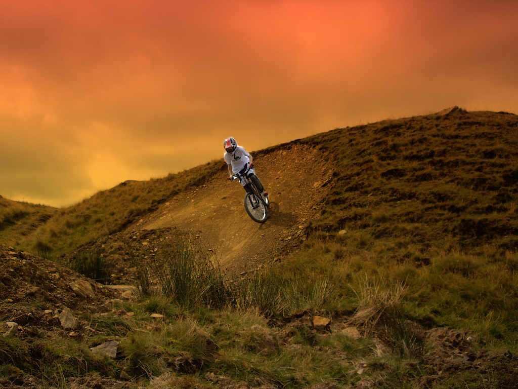 me on a berm, sunset