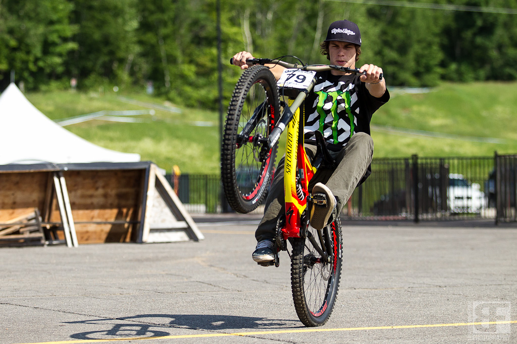 """First day on the job with Monster Energy Specialized, and Mitch Ropelato is still havin' fun. """"Hey Mitch, ride around on this and check your brakes and gears."""" Mitch wheelies instead. Good times in Quebec."""