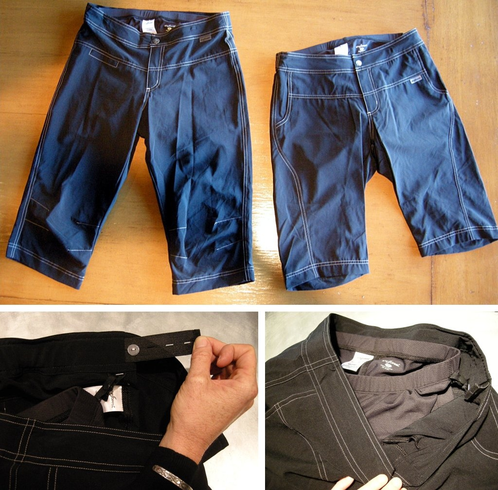 Sheebeest baggies, stretch waistband adjustment and liner details.