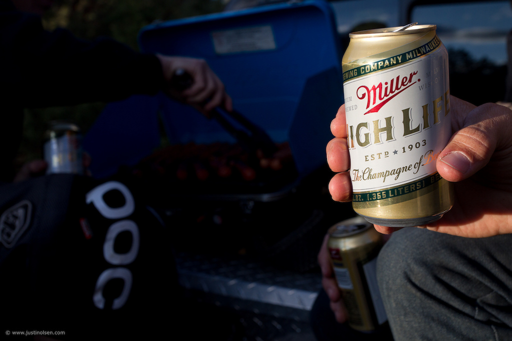 Team manager Jon Kennedy know how to throw a post ride trailside chill. You can t go wrong with beers and brats.