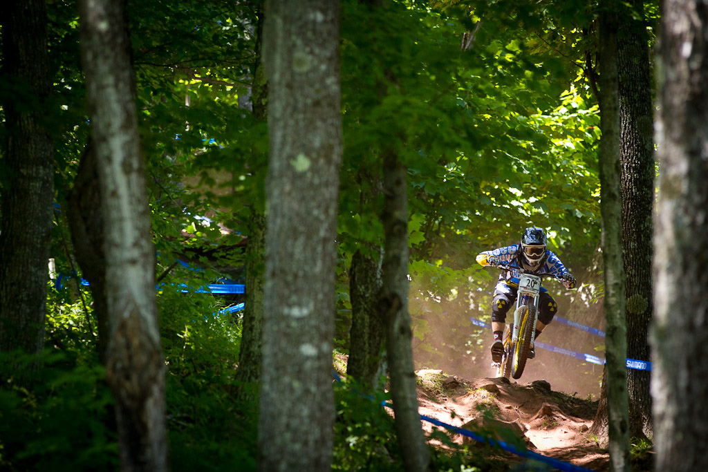 CRC Nukeproof team during first practice for the UCI World Cup in Windham
