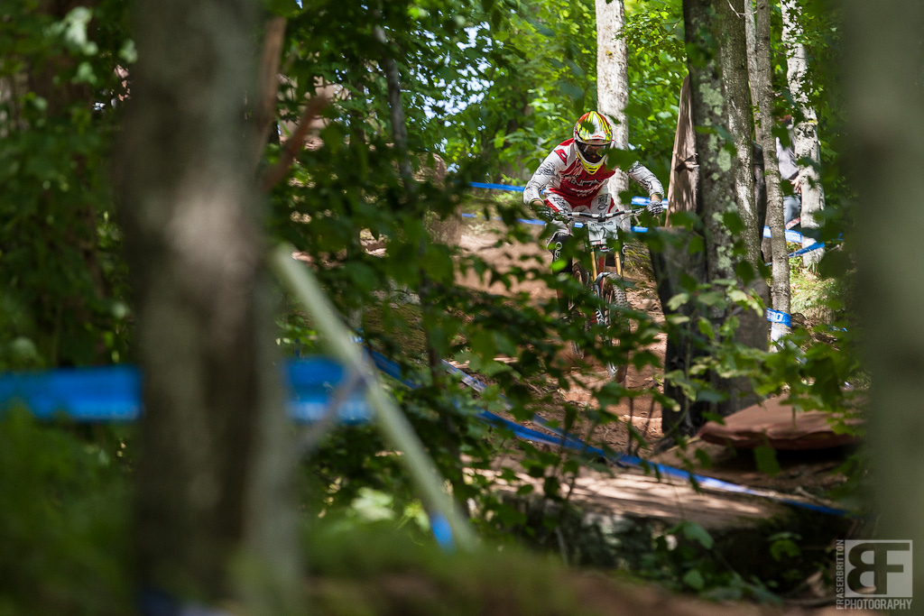 Greg Minnaar was pushing up and down all morning. He s looking for the seconds to try and beat Aaron Gwin again.