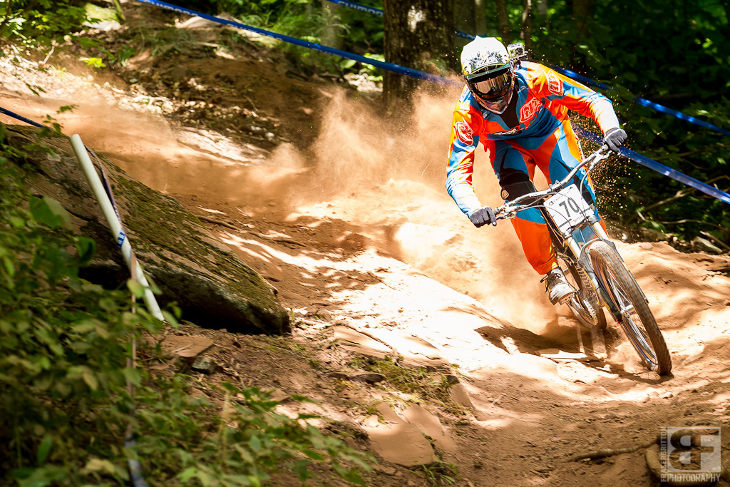Dan Stanbridge blowing up the roost. It s loose and dry out there grip goes away as fast as you can find it.