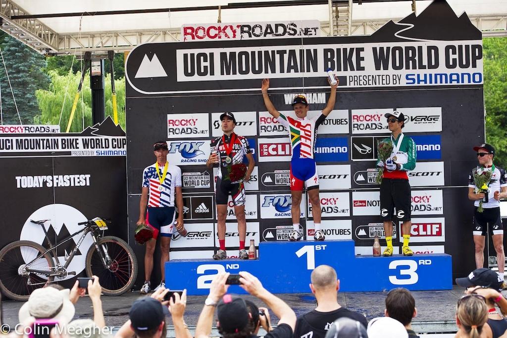 Men s podium L-R Todd Wells 4 Sergio Mantecon Gutierrez 2 Burry Stander 1 Marco Aurilio Fontana 3 . Maatthias Fluckiger 5 .