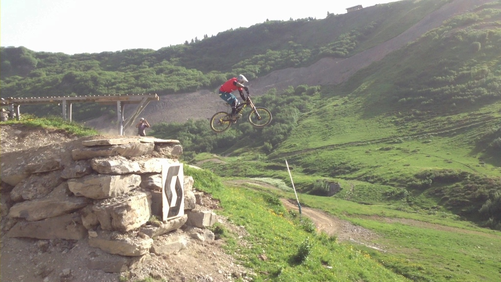 Seb testing the start drop.  He built the line and then hucked it!  The Mountain Style is going to be sick!