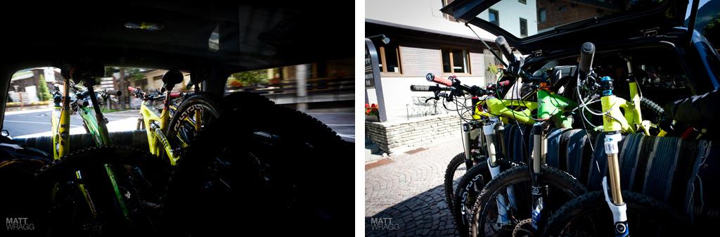 Bikes in the van.