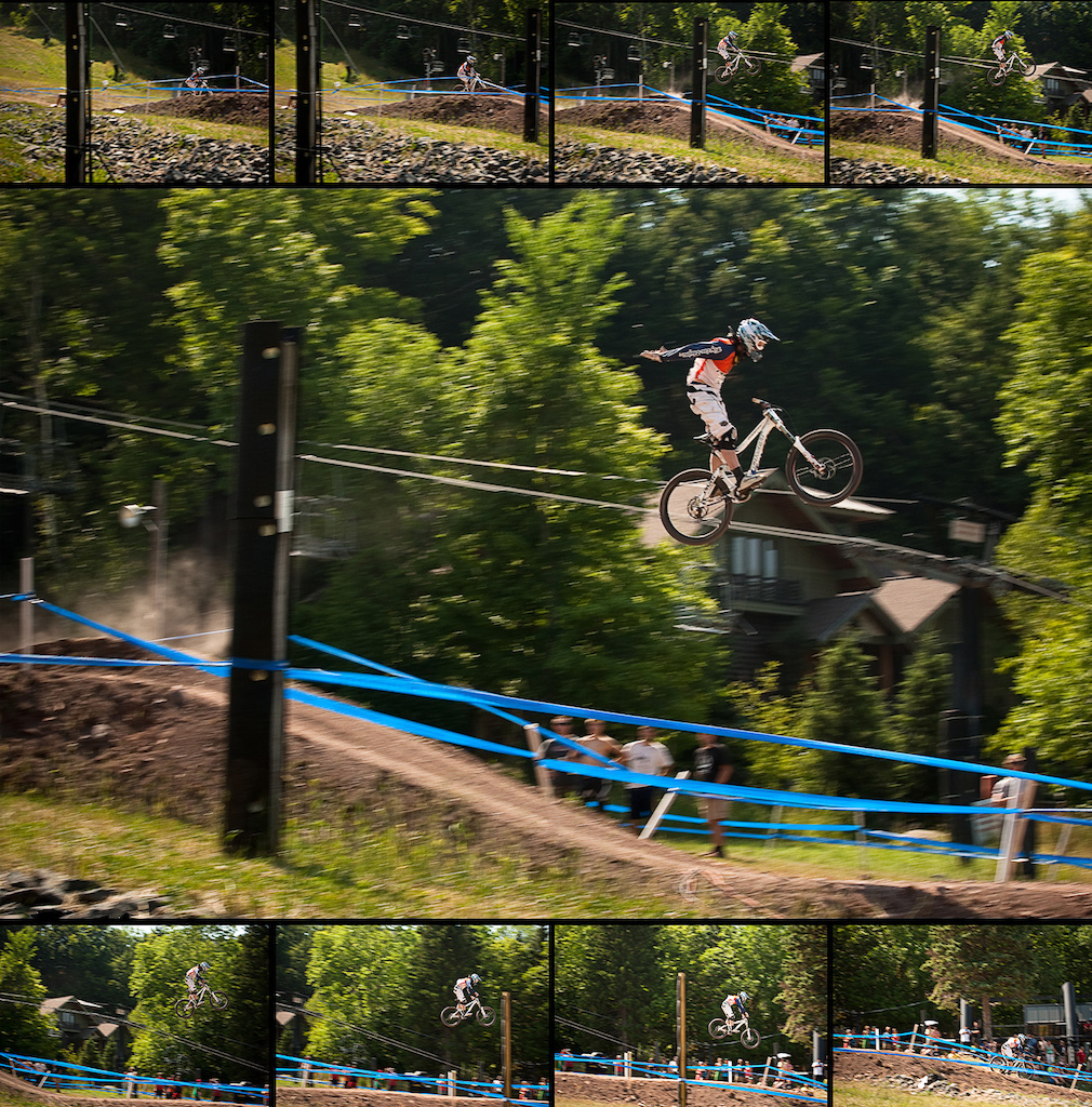 A sequence shot of Bernard Kerr during his qualifying run showing just how big that final jump at Windham was (check how high he is in that bottom left frame), the original suicide shot can be found in the VitalMTB slideshow from qualifying: http://bit.ly/N4ZIQr