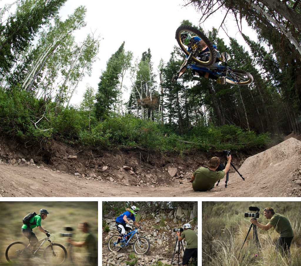 Justin Olsen shooting video for the Diamondback 2013 media camp. Kelly Mcgarry and Jon Kennedy pictured riding.